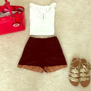 Black & Brown lined shorts with Heart Pockets